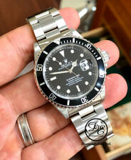 ROLEX Submariner 16610 Oyster Date SS Black Dial Men's Watch BOX/PAPERS *MINT*