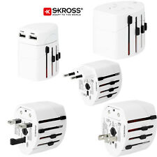 Skross World Travel Adaptor Converter Plug & USB Charger NEW White Genuine Swiss
