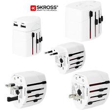 Skross World Travel Adaptor Converter Plug & USB Charger NEW White Genuine Swiss