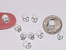 2pc Miniature dollhouse tiny Flatbacks crystal Halloween Skull locket Wht 6x10mm