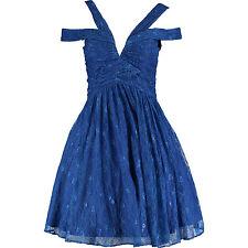 £270 NEW Forever Unique Plus Sax BLUE Floral Lace Plunge Skater Prom Dress 22