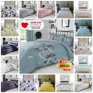 Duvet Cover Set Bedding & Pillowcase Feathers Geometric Single Double King Size