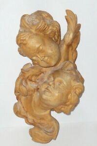 Vieux Sculpté Holzputten Puttenfigur Chérubin Ange Carved Bois Holzengel