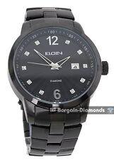 mens Elgin diamond black business dress watch calendar date bracelet Elgin box