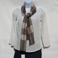100% Cashmere|Scarf|2Ply|4 Paddle|Hand Loomed|Nepal|Solid|Shades:Bwn/Ivory/Camel
