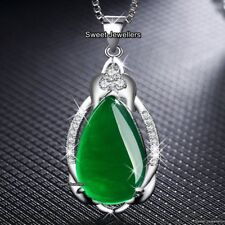WOMEN GIFT FOR HER Unique Emerald Green Stone Crystal Necklace Xmas Mum Daughter