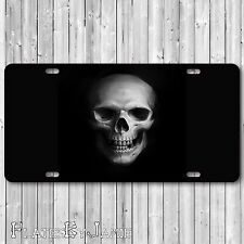 Skull Jolly Roger Aluminum Metal Vanity License Plate Tag Gloss Black New RAD!
