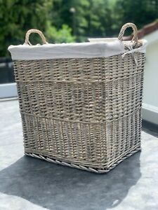 Extra Large Willow Storage Basket - Lined With Handles - Handmade High Quality