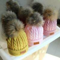 Baby Kids Boys Girls Winter Warm Fur Pom Bobble Cable Knit Beanie Hat Caps