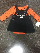 Carters 3 Months Girls Halloween Cat 2 PC Dress Orange Black Polka Dots