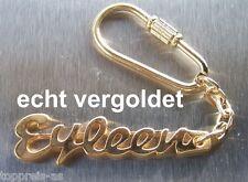 EDLER SCHLÜSSELANHÄNGER EYLEEN ECHT VERGOLDET GOLD NAME KEYCHAIN KEYRING