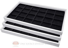 (3) White Plastic Stackable Trays w/24 Compartment Black Jewelry Display Inserts