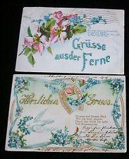 2 Postcards Germany Gruß Aus Der Ferne Herzlichen Gruß 1 Embossed PM 1905 1906