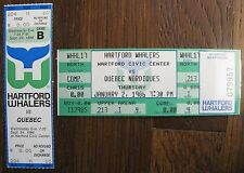 Two 1986 HARTFORD WHALERS tickets (comp / media) QUEBEC NORDIQUES