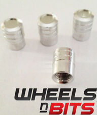 Silver Coloured Striped Aluminium Vented Valve Caps For SKODA SMART Car Van SUV