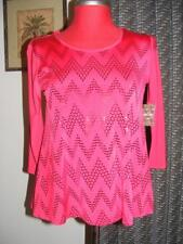 New CORAL BAY red chevron zig zag sequin BLING top PS holiday scoop neck sequins