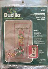 Bucilla Vintage Pre-Embroidered Needlepoint Stocking Noel Heirloom Christmas