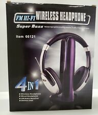 4 in 1 Hi-Fi Wireless Headphone FM Radio Receiver On Line Chat Open Box New