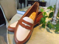 Classic POLO Brown/White Calfskin English-Style Loafers  9.5D