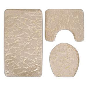 3pcs Pattern Toilet Mat Set Bath Tub Pad Door Mats Bathroom Carpeting Set.