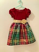 BONNIE BABY Toddler Girl 24M Christmas Holiday Dress Red Green Plaid Gold Sash