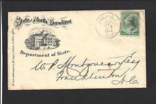 "RALEIGH, NORTH CAROLINA,1888.   ""STATE OF NORTH CAROLINA"", DEPT OF STATE"