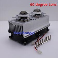 60 degree DC12V Led Heatsink Fan + 44mm Glass Lens for 50W 100W High Power Led