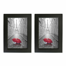 "Black Wooden Photo Frame Picture Frame with Real Glass Home Decor 4X6"" 2 pcs/set"