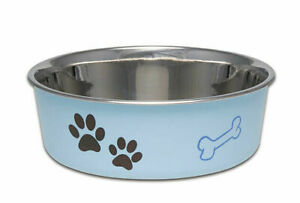 Pet Dog Bowl Dish Bella Blue 4 Sizes Stainless Steel Vet Recommended Rubber Base