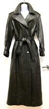 S M Andrew Marc Black Lambskin Leather Long Maxi Full Length Trench Coat Matrix