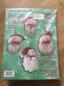 Bucilla Felt Applique Jolly Beaded Santa Christmas Decorations 4 New