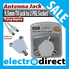 9.5mm TV Jack to 2 PAL 9.5mm TV Socket Coaxial Adaptor Antenna Cable Connection