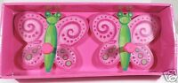 Girls Pink Butterfly Painted Wall Decor Hooks Set of 2 New