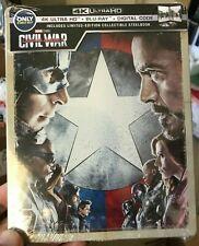 Captain America Civil War 4K UHD Blu-Ray Digital HD Steelbook Marvel Mcu