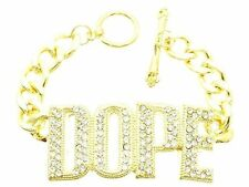 "Bling Rhinestone ""DOPE"" Word Statement Bracelet TOGGLE Link Chain Hip-Hop~GOLD"