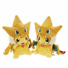 "2X Pikazard Pikachu with Mega Charizard Suit Pokemon Plush Toy Stuffed Animal 8"""
