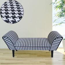 Vintage Stoff Sitz Bank Wohn Zimmer Sofa Polster Hocker kariert Holz schwarz