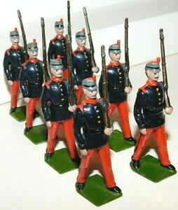 Pre-War BRITAINS 1930s Lead, Spanish Infantry Marching, 8 Piece Set #92