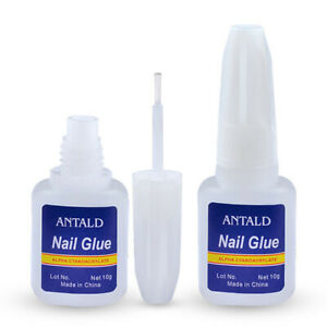 2x Nail Glue with Brush UV Gel Fast Drying for Acrylic False Nails Tip Art 10g
