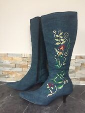 """Odeon Womens Knee High Denim Floral Embroidered Boots UK 5 EUR 38 2.5"""" Heel"""