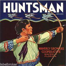 HUNTSMAN INDIAN ART DECO FLORIDA CRATE LABEL BOW ARROW VINTAGE HERON HUNTING