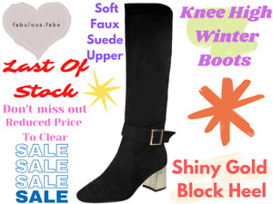 Ladies Suede Leather Over Knee High Lace Up Mid Block Heel Flat Riding Boots