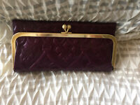 Hobo International RACHEL Leather Wallet - EMBOSSED EGGPLANT NWT  + DUST BAG
