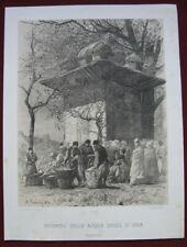 Lithographie von A. Pasini: Orientalischer Markt 1870/Old Print Oriental Market