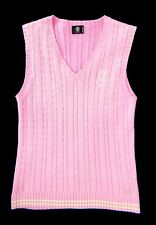 BOGNER Golf Sweater Vest Women's SIZE 10 Classic Pink Silver Logo Cable Knit