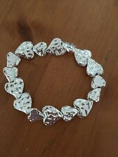 With Hammered Hearts Bnwt Pretty Silver Tone Elasticated Bracelet