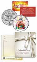 HAPPY BIRTHDAY CELEBRATE CAKE Keepsake Gift JFK Kennedy Half Dollar US Coin