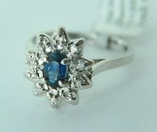 14K White Gold Oval Cut Natural Blue Sapphire & Diamond Halo Ring Sz 5.5