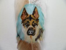 GERMAN SHEPRD-Hand painted rare turkey feather, by artist W. W. Hoffert