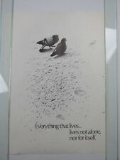 Vintage 1970 TOGETHER--NOT ALONE Poster Birds Peace HIPPIE Unselfish Living NOS